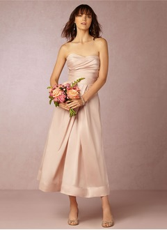 A-Line/Princess Strapless Sweetheart Ankle-Length Satin Bridesmaid Dress With Ruffle