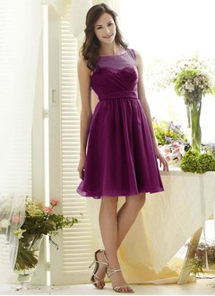 A-Line/Princess Scoop Neck Knee-Length Chiffon Prom Dress With Bow(s)