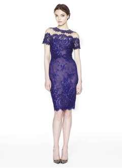 Sheath/Column Scoop Neck Knee-Length Organza Cocktail Dress With Appliques Lace