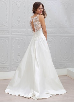 A-Line/Princess Scoop Neck Sweep Train Taffeta Wedding Dress With Lace