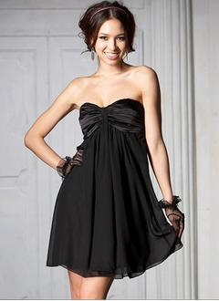 Empire Sweetheart Short/Mini Chiffon Taffeta Homecoming Dress With Ruffle