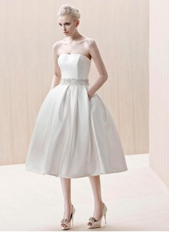 A-Line/Princess Strapless Tea-Length Satin Wedding Dress With Beading