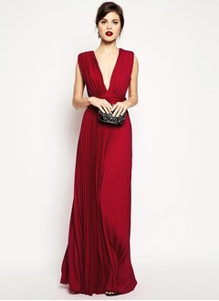 A-Line/Princess V-neck Floor-Length Chiffon Evening Dress With Ruffle Pleated