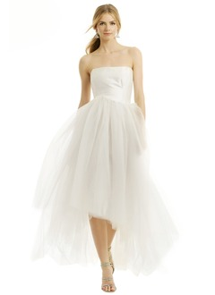 Ball-Gown Strapless Asymmetrical Taffeta Tulle Prom Dress With Ruffle
