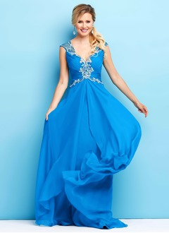 A-Line/Princess V-neck Sweep Train Chiffon Prom Dress With Ruffle Beading Cascading Ruffles