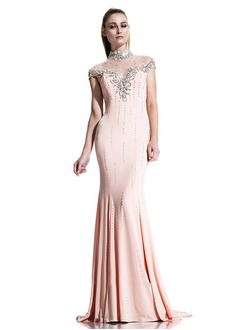 Trumpet/Mermaid High Neck Court Train Chiffon Evening Dress With Beading