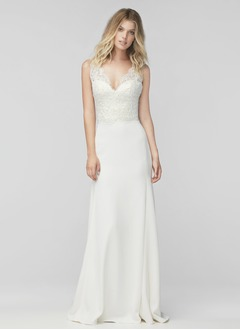A-Line/Princess V-neck Sweep Train Satin Wedding Dress With Appliques Lace