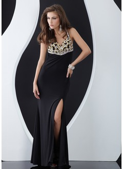 Sheath/Column Sweetheart Floor-Length Chiffon Evening Dress With Beading Split Front