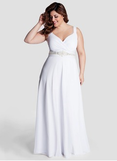A-Line/Princess V-neck Floor-Length Jersey Wedding Dress With Ruffle Beading