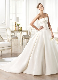 Ball-Gown Strapless Chapel Train Satin Wedding Dress With Ruffle
