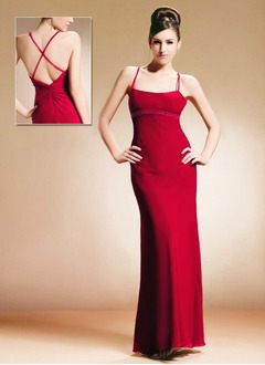 Sheath/Column Strapless Floor-Length Chiffon Charmeuse Mother of the Bride Dress With Ruffle Beading