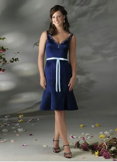 Sheath/Column V-neck Knee-Length Satin Bridesmaid Dress With Sash Beading Bow(s)