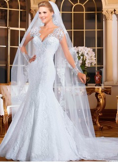 Trumpet/Mermaid V-neck Court Train Tulle Lace Wedding Dress With Beading Appliques Lace