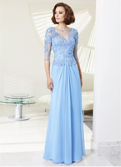 Sheath/Column Scoop Neck Floor-Length Chiffon Lace Evening Dress With Beading Appliques Lace