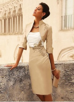 Sheath/Column Strapless Knee-Length Taffeta Mother of the Bride Dress With Beading Appliques Lace