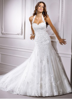 A-Line/Princess Sweetheart Halter Cathedral Train Tulle Lace Wedding Dress With Ruffle Beading Appliques Lace