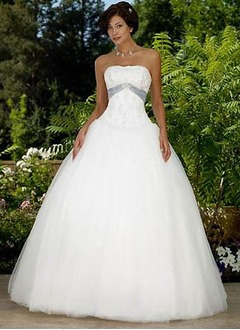 Ball-Gown Strapless Court Train Satin Tulle Wedding Dress With Lace Sash Beading