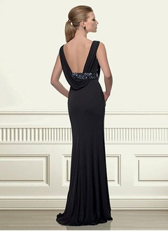 Sheath/Column Cowl Neck Sweep Train Chiffon Mother of the Bride Dress With Ruffle Beading