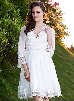 A-Line/Princess V-neck Knee-Length Chiffon Lace Wedding Dress With Lace