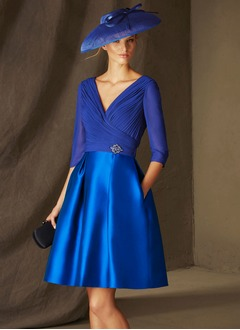 A-Line/Princess V-neck Knee-Length Chiffon Satin Mother of the Bride Dress With Beading