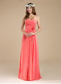 A-Line/Princess Strapless Sweetheart Floor-Length Chiffon  ...