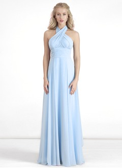 A-Line/Princess Floor-Length Chiffon Prom Dress With Ruffle