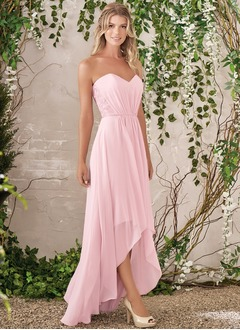 A-Line/Princess Strapless Sweetheart Asymmetrical Chiffon Bridesmaid Dress With Ruffle Lace