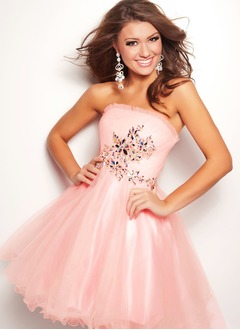 A-Line/Princess Strapless Short/Mini Tulle Charmeuse Prom Dress With Ruffle Beading