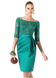 Sheath/Column Off-the-Shoulder Knee-Length Satin Lace Evening Dress With Sequins