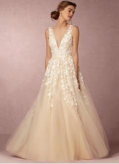 Ball-Gown V-neck Floor-Length Tulle Wedding Dress With Beading Appliques Lace