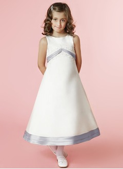 A-Line/Princess Scoop Neck Ankle-Length Satin Flower Girl Dress With Sash Beading