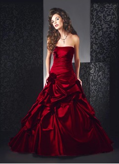 Ball-Gown Strapless Sweetheart Cathedral Train Taffeta Wedding Dress With Ruffle Flower(s)