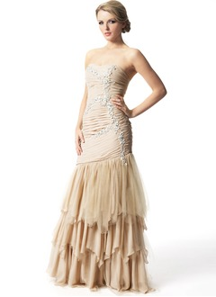 Trumpet/Mermaid Sweetheart Floor-Length Chiffon Tulle Prom Dress With Ruffle Lace Cascading Ruffles