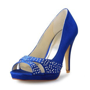 Women's Satin Peep Toe Platform Pumps With Rhinestone