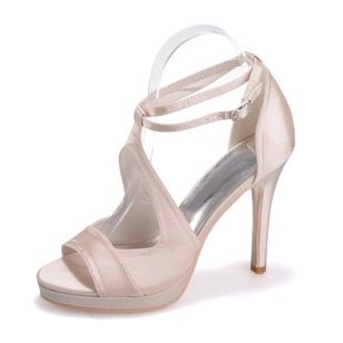 Women's Satin Stiletto Heel Peep Toe Platform Sandals With Buckle (0475100383)