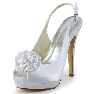 Women's Satin Stiletto Heel Peep Toe Platform Slingbacks With Buckle Satin Flower