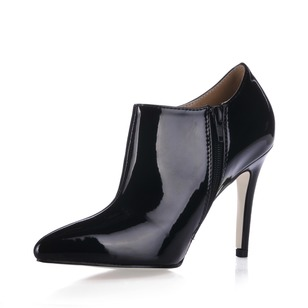 Patent Leather Stiletto Heel Closed Toe Ankle Boots shoes
