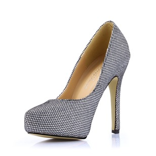 Leatherette Sparkling Glitter Stiletto Heel Pumps Platform Closed Toe With Sparkling Glitter shoes