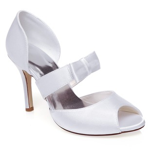 Women's Satin Stiletto Heel Peep Toe Sandals With Bowknot