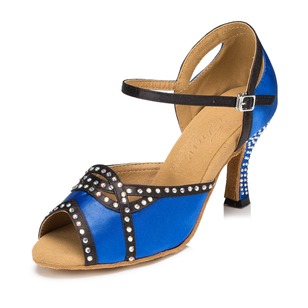 Women's Satin Heels Sandals Modern With Rhinestone Ankle Strap Dance Shoes