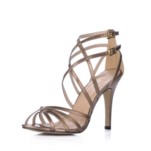 Leatherette Stiletto Heel Sandals Peep Toe With Buckle shoes