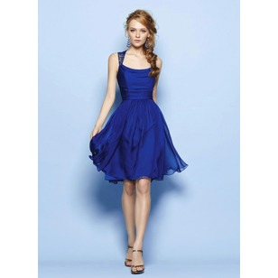 A-Line/Princess Square Neckline Knee-Length Lace 30D Chiffon Evening Dress With Ruffle (0175059666)
