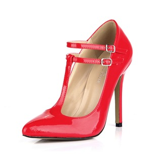 Patent Leather Stiletto Heel Pumps Closed Toe With Buckle shoes (0855100555)