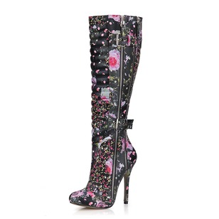 PU Stiletto Heel Closed Toe Boots Over The Knee Boots With Buckle Zipper shoes (0885119670)