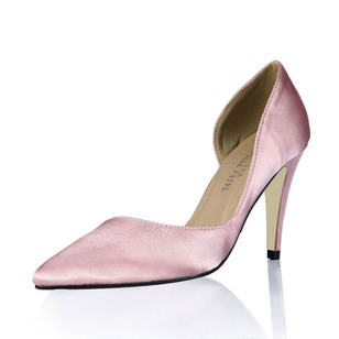 Silk Like Satin Stiletto Heel Pumps Closed Toe shoes