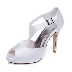 Women's Satin Stiletto Heel Peep Toe Platform Sandals With Buckle (0475119282)