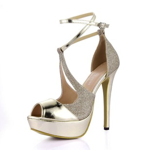 Patent Leather Sparkling Glitter Stiletto Heel With Buckle shoes