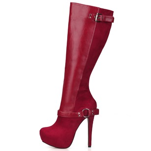 Suede PU Stiletto Heel Platform Over The Knee Boots With Buckle Zipper shoes