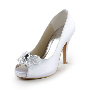 Kvinnor Satäng Stilettklack Peep Toe Plattform Pumps med Strass
