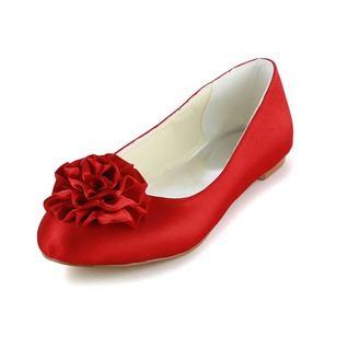 Women's Satin Flat Heel Flats With Satin Flower (0475119271)